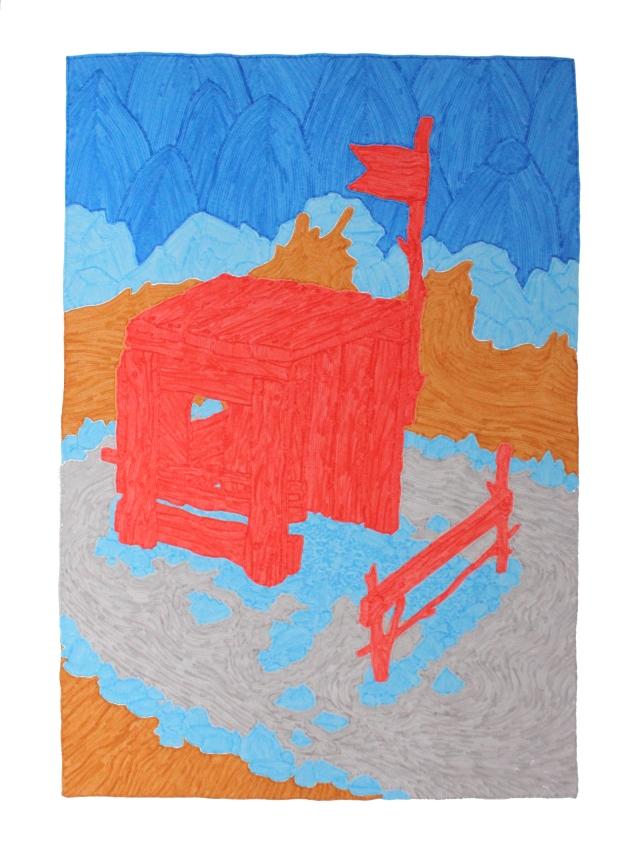 dessin cabane rouge complet
