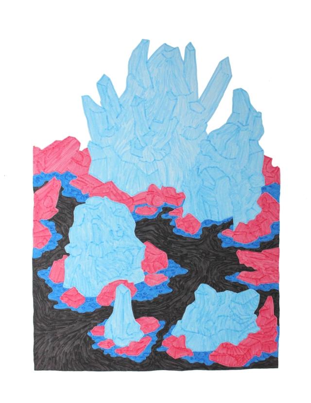 dessin cristaux bleu