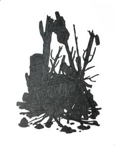 dessin feux de camp noir crane